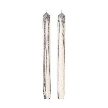 Ferm Living Kaarsen Duo grijs gebroken wit set van 2