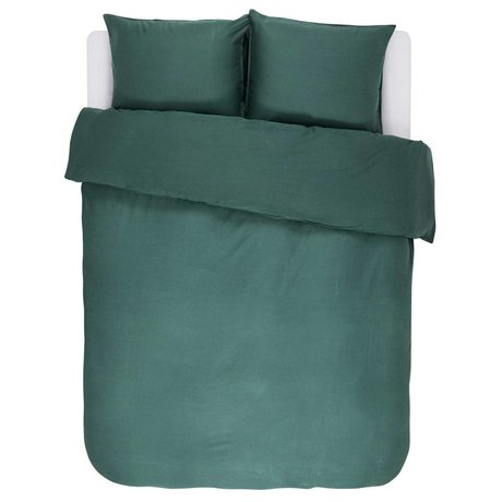 ESSENZA Dekbedovertrek Minte groen katoen satijn 240x220+2/60x70cm