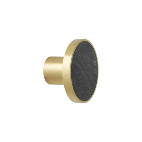 Ferm Living Wandhaak Marble zwart goud marmer Ø4x2,5cm