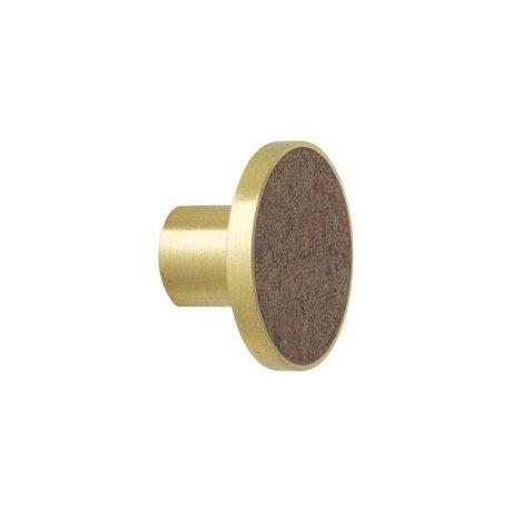 Ferm Living Wandhaak Marble bruin goud marmer Ø4x2,5cm
