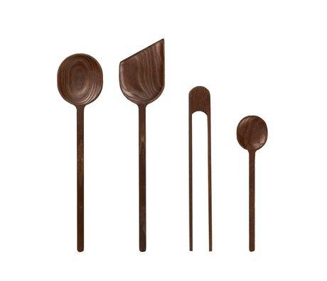 Ferm Living Kitchenware Tomo brown ash wood set of 4