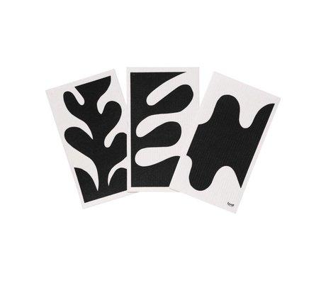 Ferm Living Vaatdoek Leaf zwart wit textiel set van 3 15x25,5cm