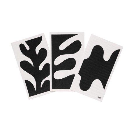 Ferm Living Geschirrtuch Blatt schwarz weiß Textil 3er Set 15x25,5cm
