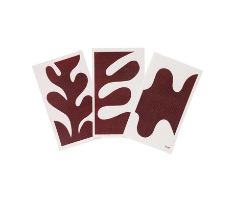 Ferm Living Geschirrtuch Blatt rotbraun weiß Textil 3er Set 15x25,5cm