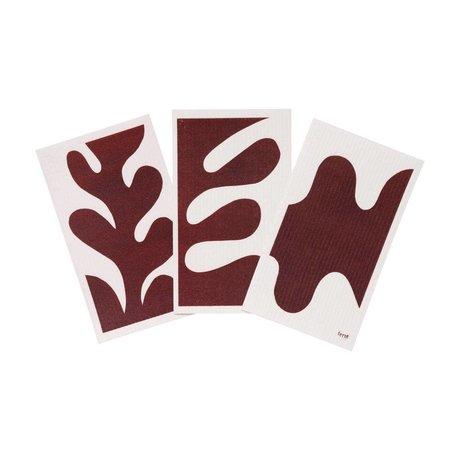 Ferm Living Torchon Feuille Textile Rouge Marron Blanc Set de 3 15x25,5cm