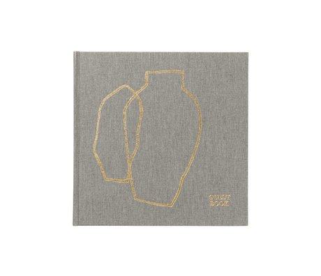 Ferm Living Gästebuch graue Gold Leinwand 23x23x2,5cm