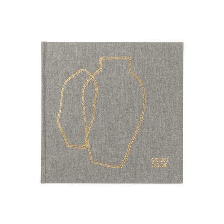 Ferm Living Livre d'or toile grise dorée 23x23x2,5cm