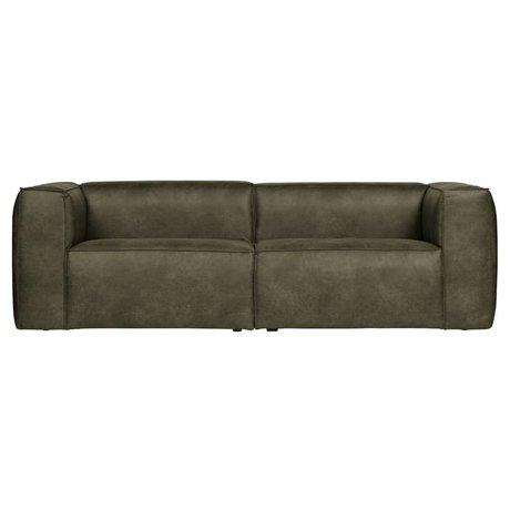 LEF collections Sofa bean 3.5-seat army green recycled leather 246x96x73cm