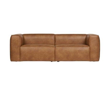 LEF collections Bank bean 3,5-zit cognac bruin gerecycled leer 246x96x73cm