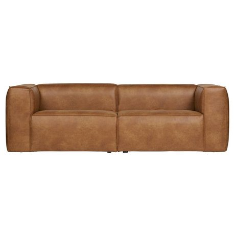 LEF collections Sofa bean 3.5-seat cognac brown recycled leather 246x96x73cm