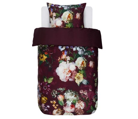 ESSENZA Duvet cover Fleur Burgundy purple cotton satin 140x220 + 60x70cm