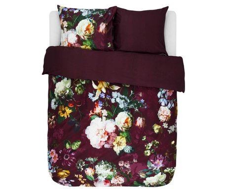 ESSENZA Duvet cover Fleur Burgundy purple cotton satin 200x220 + 2 / 60x70cm