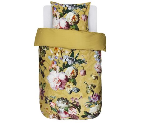 ESSENZA Duvet cover Fleur Golden yellow cotton satin 140x220 + 60x70cm