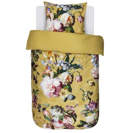 ESSENZA Housse de couette Fleur Satin de coton jaune doré 140x220 + 60x70cm