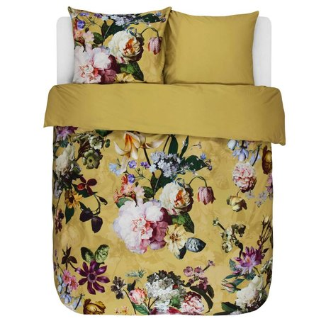 ESSENZA Dekbedovertrek Fleur Golden geel katoen satijn 200x220+2/60x70cm