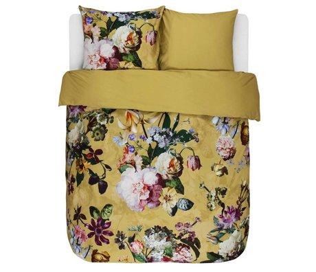ESSENZA Housse de couette Fleur Satin de coton jaune doré 240x220 + 2 / 60x70cm