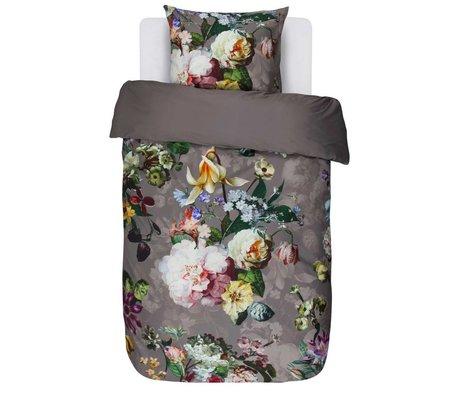 ESSENZA Housse de couette Fleur Taupe satin de coton marron 140x220 + 60x70cm