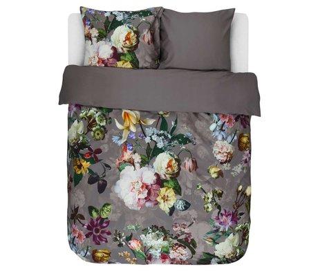 ESSENZA Housse de couette Fleur Taupe satin de coton brun 240x220 + 2 / 60x70cm