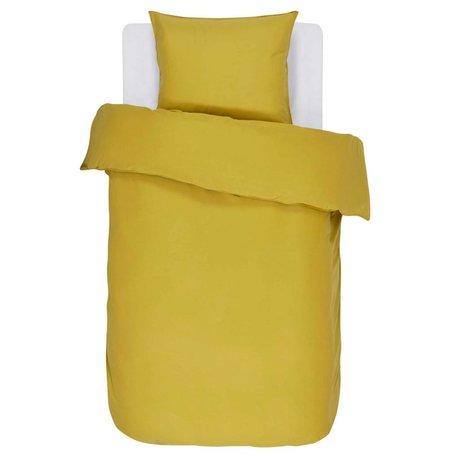 ESSENZA Dekbedovertrek Minte Golden geel katoen satijn 140x220+60x70cm