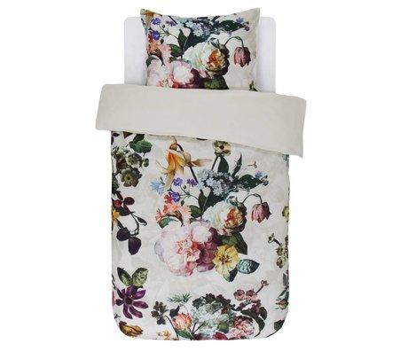 ESSENZA Housse de couette Fleur Ecru satin de coton blanc 140x220 + 60x70cm