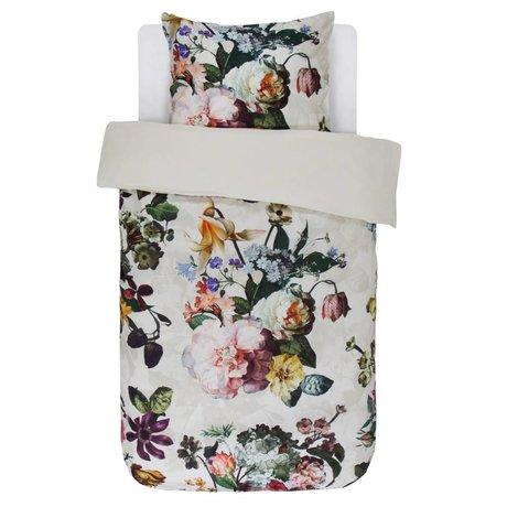 ESSENZA Bettbezug Fleur Ecru weiße Baumwolle Satin 140x220 + 60x70cm