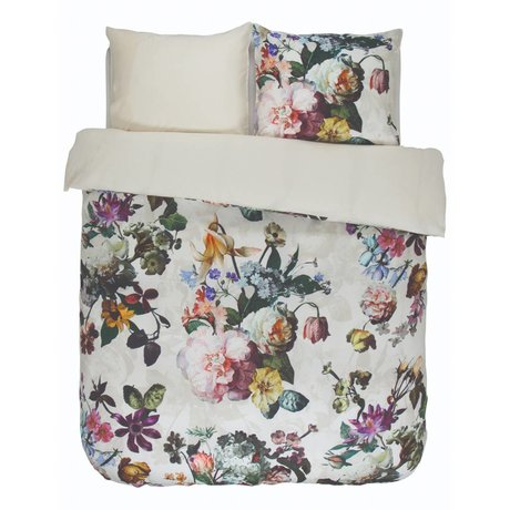 ESSENZA Housse de couette Fleur Ecru satin de coton blanc 200x220 + 2 / 60x70cm