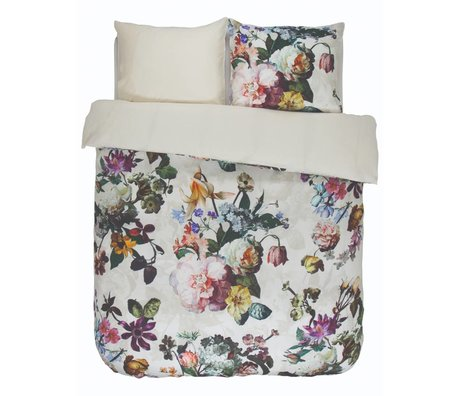 ESSENZA Bettbezug Fleur Ecru weiße Baumwolle satiniert 240x220 + 2 / 60x70cm