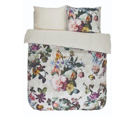ESSENZA Housse de couette Fleur Ecru satin de coton blanc 240x220 + 2 / 60x70cm