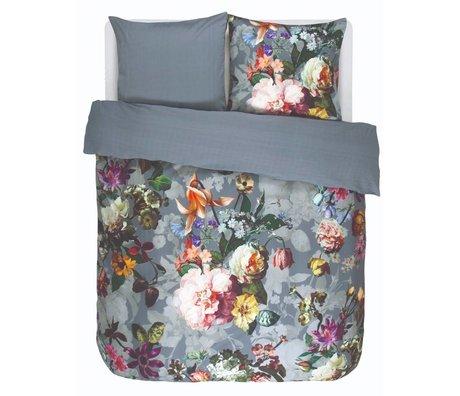ESSENZA Bettbezug Fleur Fadend blauer Baumwollsatin 200x220 + 2 / 60x70cm