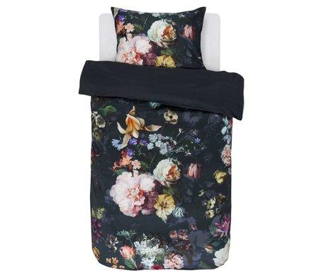 ESSENZA Housse de couette Fleur Nightblue en satin de coton bleu 140x220 + 60x70cm