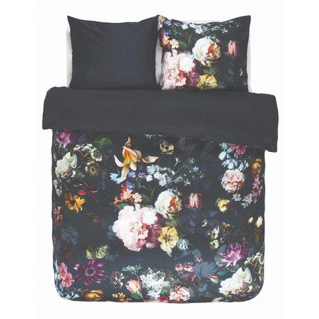 ESSENZA Housse de couette Fleur Nightblue en satin de coton bleu 240x220 + 2 / 60x70cm