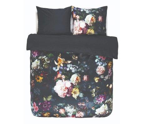 ESSENZA Housse de couette Fleur Nightblue en satin de coton bleu 260x220 + 2 / 60x70cm