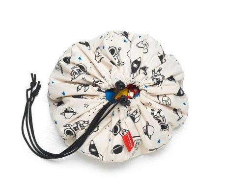 Play & Go Sac de rangement / tapis de jeu Space coton noir crème blanc ø40cm