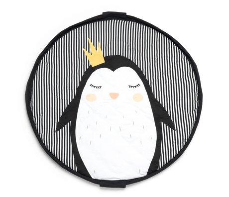 Play & Go Aufbewahrungstasche / Spielmatte / Wickeltasche Pinguin schwarz weißer Jersey Baumwolle ø120cm
