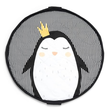 Play & Go Opbergzak/speelkleed/luiertas Pinguin zwart wit jersey-katoen ø120cm