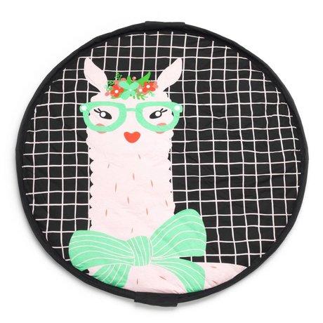 Play & Go Aufbewahrungstasche / Spielmatte / Wickeltasche Lama grün Jersey-Baumwolle ø120cm