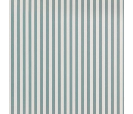 Ferm Living Behang Thin Lines dusty blauw gebroken wit papier 53x1000cm