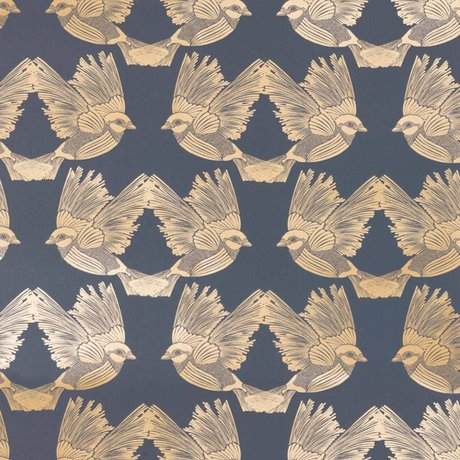 Ferm Living Wallpaper Birds dunkelblaues Goldpapier 53x1000cm