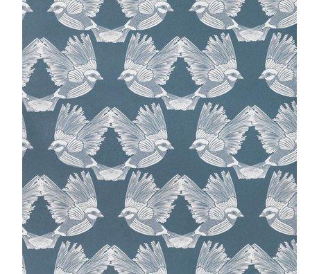 Ferm Living Wallpaper Birds dunkelgrünes Altweißpapier 53x1000cm