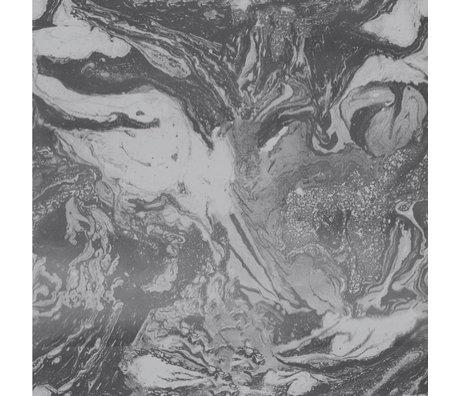 Ferm Living Behang Marbling donkergrijs papier 53x1000cm