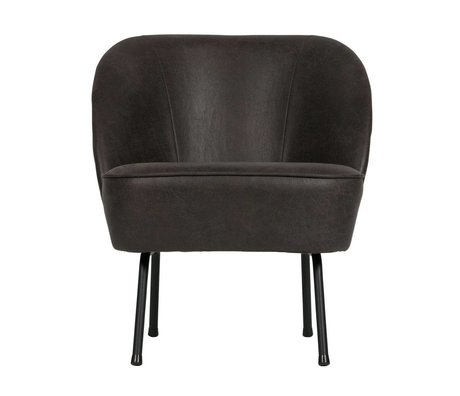 BePureHome Fauteuil Vogue black leather 69x57x70cm