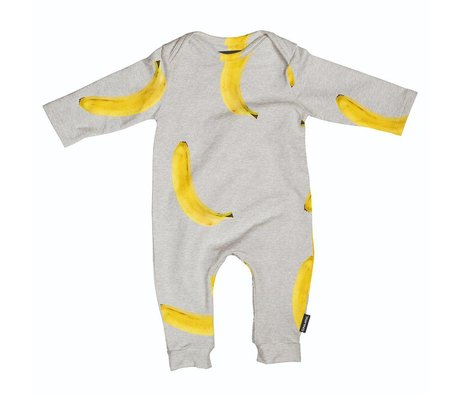 Snurk Beddengoed Bodysuit Banana gray yellow cotton size 68