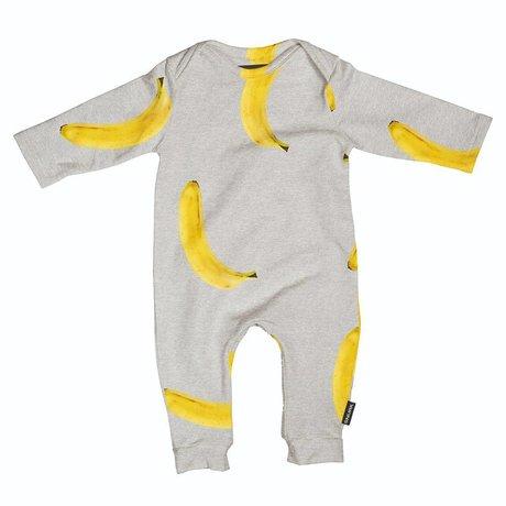Snurk Beddengoed Romper Banana grijs geel katoen maat 68