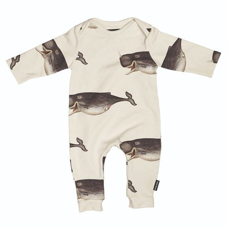 Snurk Beddengoed Romper Whale by the dybdahl off-white gray cotton size 68