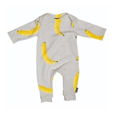 Snurk Beddengoed Romper Banana grijs geel katoen maat 62