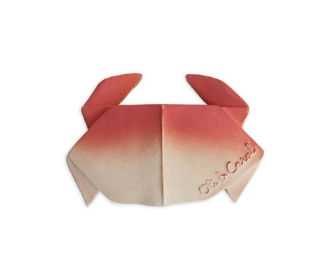 Oli & Carol Bath and teething toy H2origami Crab red white natural rubber 11x7x2cm