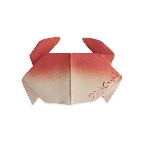 Oli & Carol Bad en bijtspeeltje H2origami Crab rood wit natuurlijk rubber 11x7x2cm