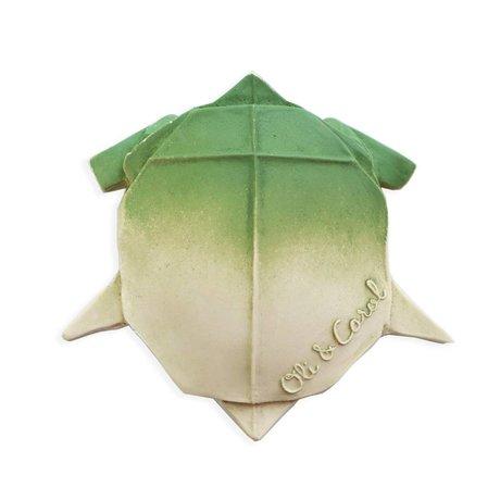 Oli & Carol Bad en bijtspeeltje H2origami Turtle groen wit natuurlijk rubber 10x8x2cm