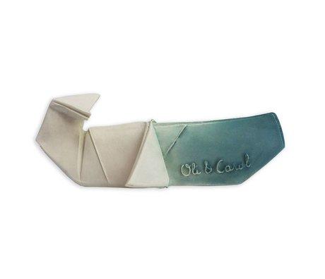 Oli & Carol Bad en bijtspeeltje H2origami Whale blauw wit natuurlijk rubber 14x9x5cm