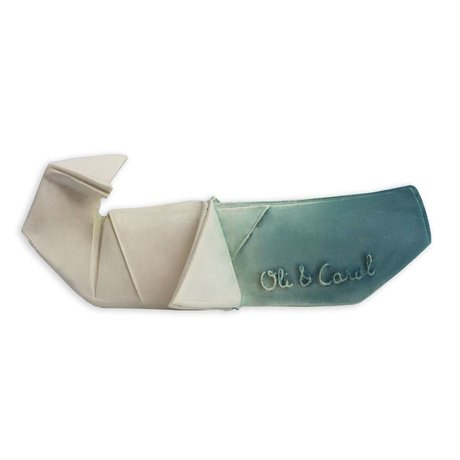 Oli & Carol Bath and Teething Toy H2origami Whale blue white natural rubber 14x9x5cm